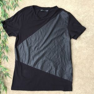 Zara Man Faux Leather Detail Tee